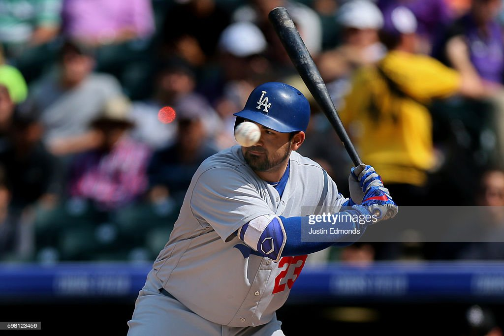 Adrian Gonzalez #23 of the Los Angeles Dodgers watches a ball sail by during an at bat during the sixth inning against the Colorado Rockies at Coors Field on August 31, 2016 in Denver, Colorado.