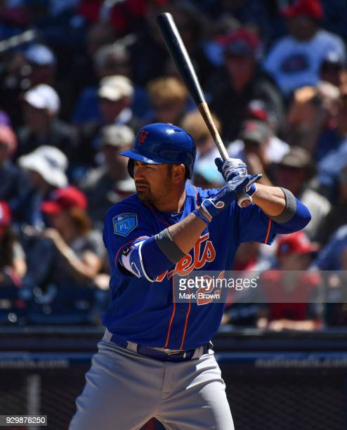 Adrian Gonzalez of the New York Mets bats during the spring training game against the Washington Capitals at FITTEAM Ballpark of the Palm Beaches on...