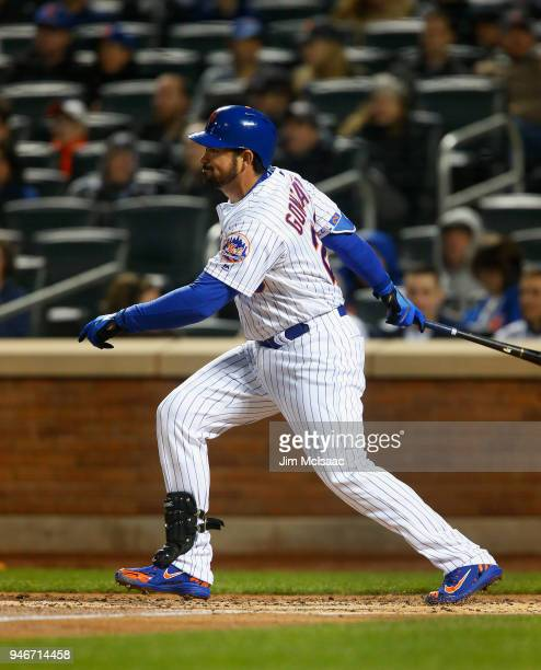 Adrian Gonzalez of the New York Mets in action against the Milwaukee Brewers at Citi Field on April 14 2018 in the Flushing neighborhood of the...
