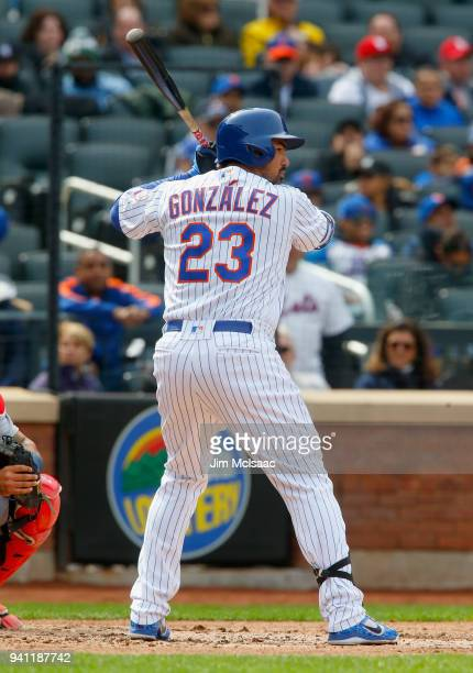 Adrian Gonzalez of the New York Mets in action against the St Louis Cardinals at Citi Field on April 1 2018 in the Flushing neighborhood of the...