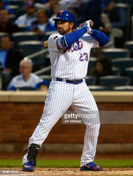 Adrian Gonzalez of the New York Mets in action against the Washington Nationals at Citi Field on April 16 2018 in the Flushing neighborhood of the...