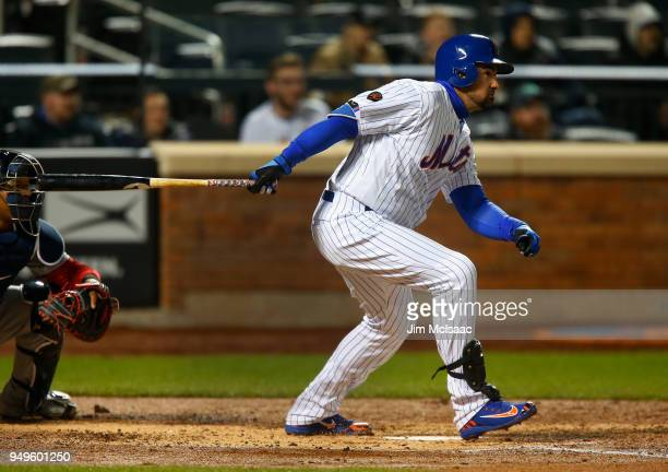 Adrian Gonzalez of the New York Mets in action against the Washington Nationals at Citi Field on April 18 2018 in the Flushing neighborhood of the...