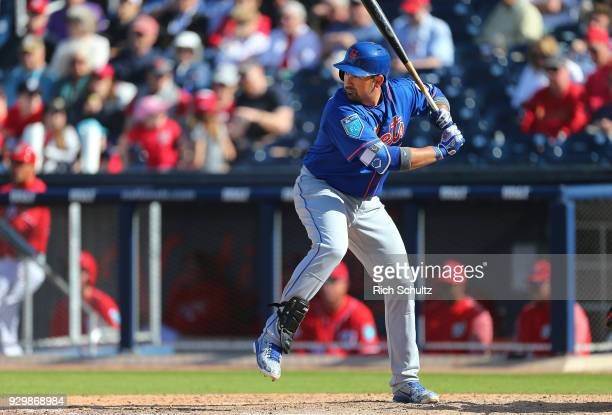 Adrian Gonzalez of the New York Mets in action during a spring training game against the Washington Nationals at FITTEAM Ball Park of the Palm...