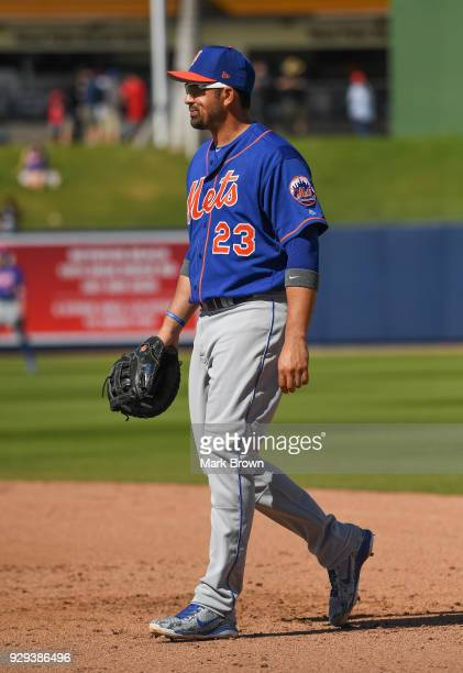 Adrian Gonzalez of the New York Mets in the fifth inning during the spring training game against the Washington Nationals at Fitteam Ballpark of the...