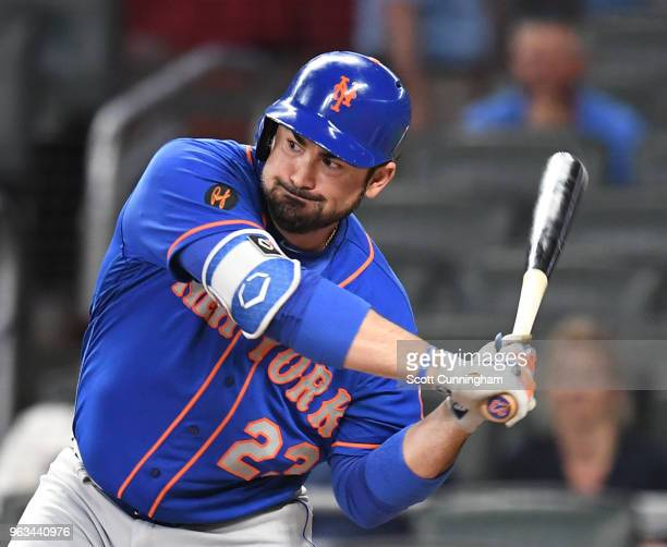 Adrian Gonzalez of the New York Mets knocks in a run with a firstinning single against the Atlanta Braves at SunTrust Field on May 28 2018 in Atlanta...