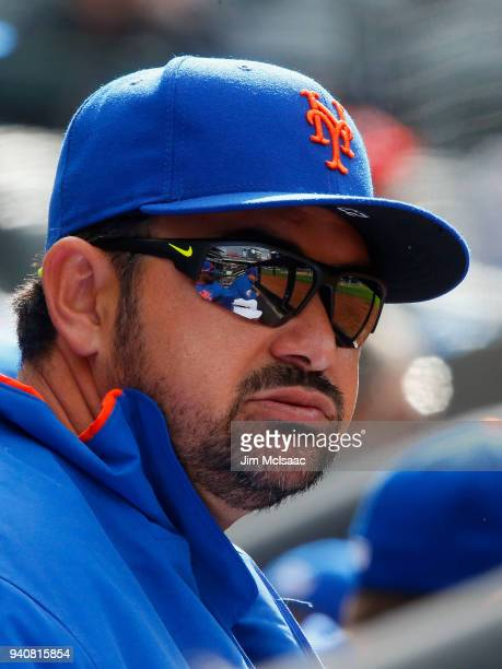 Adrian Gonzalez of the New York Mets looks on against the St Louis Cardinals at Citi Field on April 1 2018 in the Flushing neighborhood of the Queens...