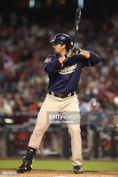 Adrian Gonzalez of the San Diego Padres bats against the Arizona Diamondbacks during the major league baseball game at Chase Field on May 25 2009 in...