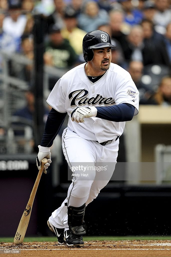 Adrian Gonzalez #23 of the San Diego Padres hits against the Los Angeles Dodgers at Petco Park on Saturday, May 15, 2010 in San Diego, California. The Dodgers won 4-1.