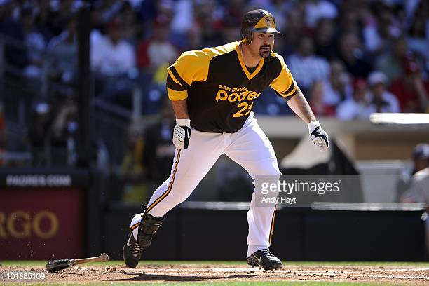 Adrian Gonzalez of the San Diego Padres hits against the St Louis Cardinals at Petco Park on Thursday May 27 2010 in San Diego California Cardinals...