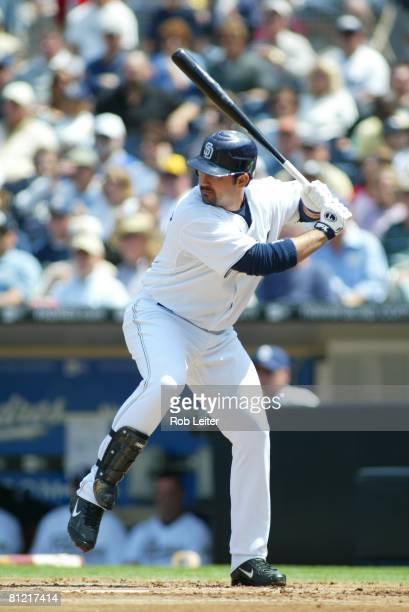 Adrian Gonzalez of the San Diego Padres hits during the game against the Los Angeles Dodgers at Petco Park in San Diego California on April 5 2008...