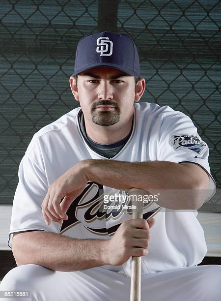 Adrian Gonzalez of the San Diego Padres poses during photo day at Peoria Stadium on February 24 2009 in Peoria Arizona