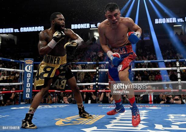 Adrian Granados right reacts after being hit by Adrien Broner during their fight at the Cintas Center on February 18 2017 in Cincinnati Ohio
