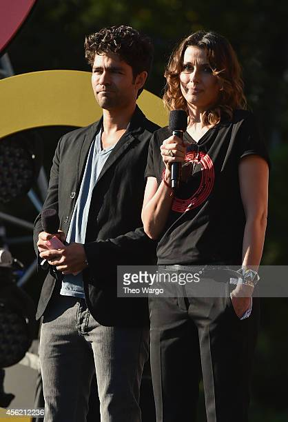 Adrian Grenier and Bridget Moynahan speak onstage at the 2014 Global Citizen Festival to end extreme poverty by 2030 in Central Park on September 27...