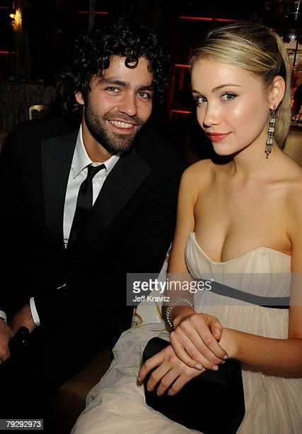 Adrian Grenier and Guest attend the HBO after party for the 14th Annual Screen Actor's Guild Awards at the Shrine Auditorium on January 27 2008 in...