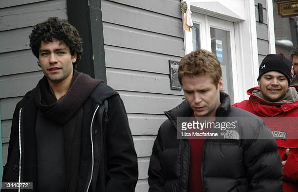 Adrian Grenier and Kevin Connolly during 2005 Sundance Film Festival Taping of Entourage January 27 2005 at Main Street in Park City Utah United...