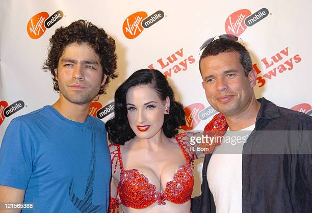 Adrian Grenier Dita Von Teese and Peter Boyd during Virgin Mobile Presents 3 Ways To Pay As You Go at Sky Studio in New York City New York United...