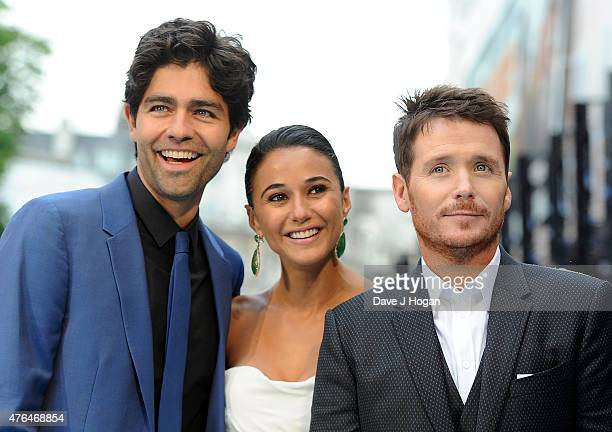 Adrian Grenier Emmanuelle Chriqui and Kevin Connolly attend the European Premiere of Entourage at Vue West End on June 9 2015 in London England