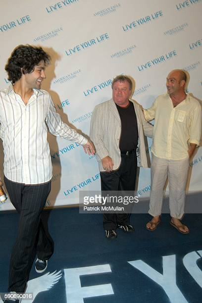 Adrian Grenier Jack McGee and John Venitmiglia attend American Eagle Outfitters Live Your Life Contest at American Eagle Outfitters on July 27 2005...