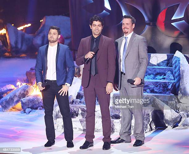 Adrian Grenier, Jerry Ferrara, and Kevin Dillon speak onstage during the 2014 MTV Movie Awards held at Nokia Theatre L.A. Live on April 13, 2014 in...