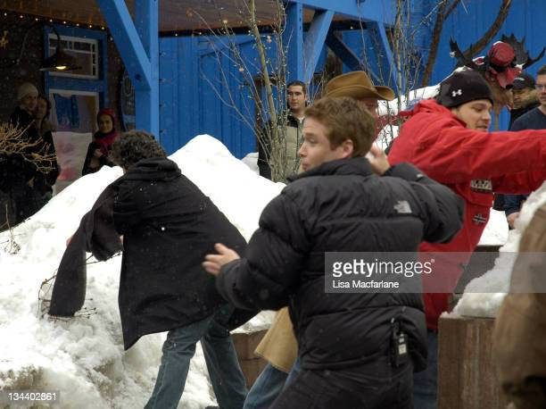 Adrian Grenier Kevin Connolly and Jerry Ferrara during 2005 Sundance Film Festival Taping of Entourage January 27 2005 at Main Street in Park City...