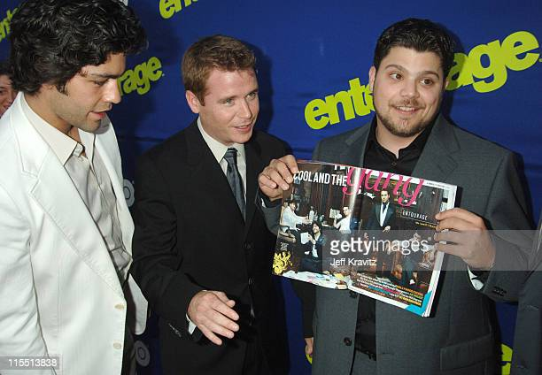 Adrian Grenier Kevin Connolly and Jerry Ferrara during Entourage 2006 Season Premiere Red Carpet at Cinerama Dome in Hollywood California United...