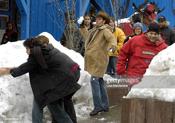 """Adrian Grenier, Kevin Dillon and Jerry Ferrara during 2005 Sundance Film Festival - Taping of """"Entourage"""" - January 27, 2005 at Main Street in Park..."""