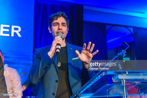 "Adrian Grenier speaks on stage during the Rally For Kids Scavenger Cup In Toronto ""The Qualifiers"" Celebrity Draft Party at the Hotel X's High Park..."