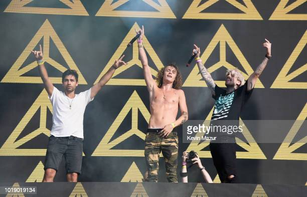 Adrian Grenier Trevor Dahl and KEVI speak onstage during Day 1 of Billboard Hot 100 Festival 2018 at Northwell Health at Jones Beach Theater on...