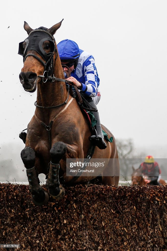 Adrian Heskin riding Oneida Tribe clear the last to win The Call Starsports On 0800 521321 Novices' Handicap Chase at Towcester racecourse on February 14, 2018 in Towcester, England.
