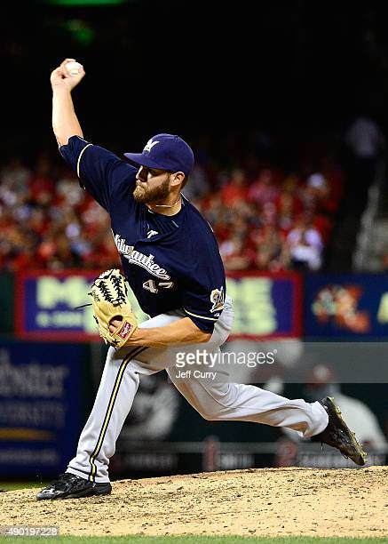 Adrian Houser of the Milwaukee Brewers pitches during his major league debut in the eighth inning against the St Louis Cardinals at Busch Stadium on...