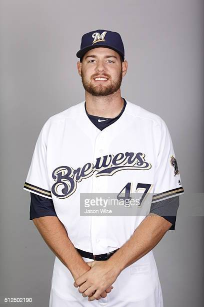 Adrian Houser of the Milwaukee Brewers poses during Photo Day on Friday February 26 2016 at Maryvale Baseball Park in Phoenix Arizona