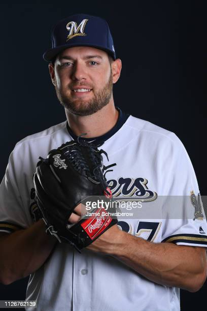 Adrian Houser of the Milwaukee Brewers poses during the Brewers Photo Day on February 22 2019 in Maryvale Arizona