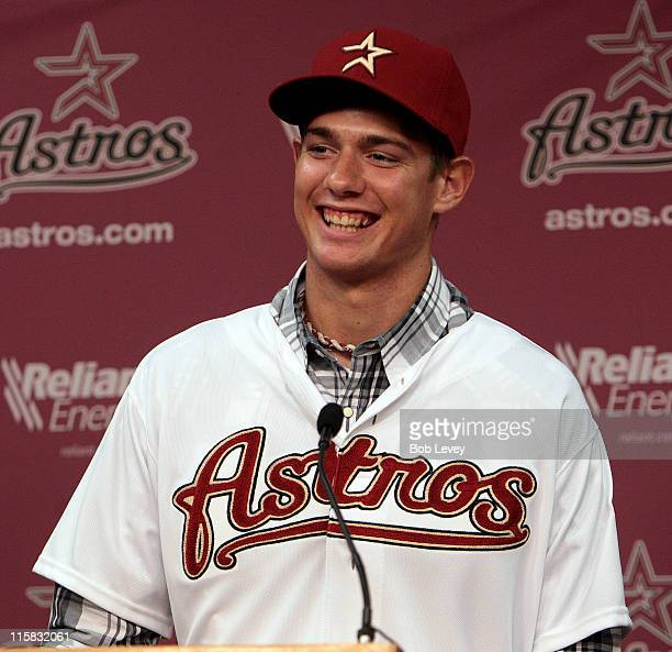 Adrian Houser smiles after being announced as the Houston Astros' secondround selection in the 2011 MLB First Year Player Draft at Minute Maid Park...