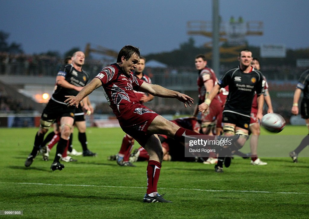 Adrian Jarvis of Bristol kicks the ball upfield during the Championship playoff final match, 1st leg between Exeter Chiefs and Bristol at Sandy Park on May 19, 2010 in Exeter, England.