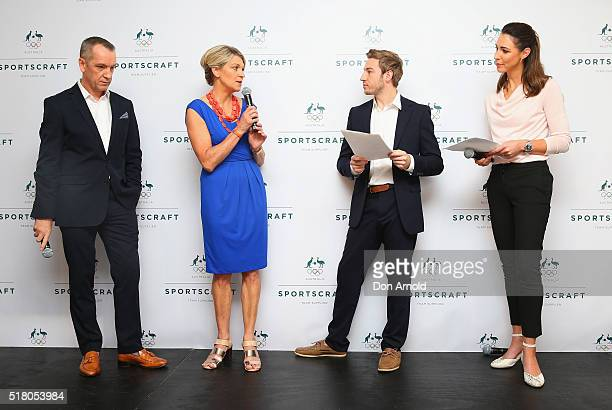 Adrian Jones Kitty ChillerMatthew Mitcham and Giaan Rooney address media during Sportscraft's 2016 Australian Olympic Team Opening Ceremony uniform...