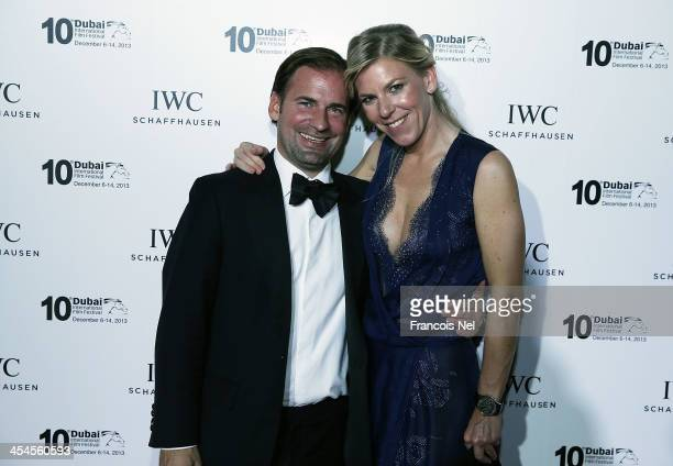 Adrian Jossa and IWC Regional Brand Director Karoline Huber attend the IWC Schaffhausen For The Love Of Cinema IWC Filmmakers Award 2013 at One And...