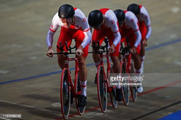 Adrian Kaiser Szymon Krawczyk Bartosz Rudyk and Szymon Sajnok of Poland compete in the men's pursuit qualifying on day one of the UCI Track Cycling...