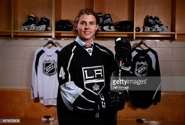 Adrian Kempe 29th overall pick of the Los Angeles Kings poses for a portrait during the 2014 NHL Entry Draft at Wells Fargo Center on June 27 2014 in...