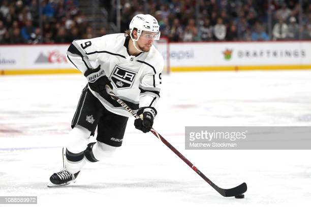 Adrian Kempe of the Los Angeles Kings advances the puck against the Colorado Avalanche at the Pepsi Center on December 31 2018 in Denver Colorado