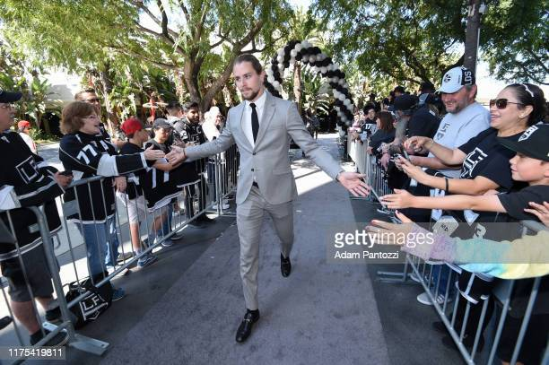 Adrian Kempe of the Los Angeles Kings arrives before the Los Angeles Kings game against the Nashville Predators at STAPLES Center on October 12 2019...