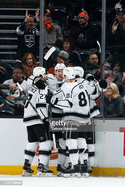 Adrian Kempe of the Los Angeles Kings celebrates a first period goal with his teammates during the game against the Anaheim Ducks on March 10 2019 at...