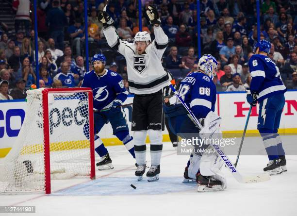 Adrian Kempe of the Los Angeles Kings celebrates a goal against the Tampa Bay Lightning during the third period at Amalie Arena on February 25, 2019...