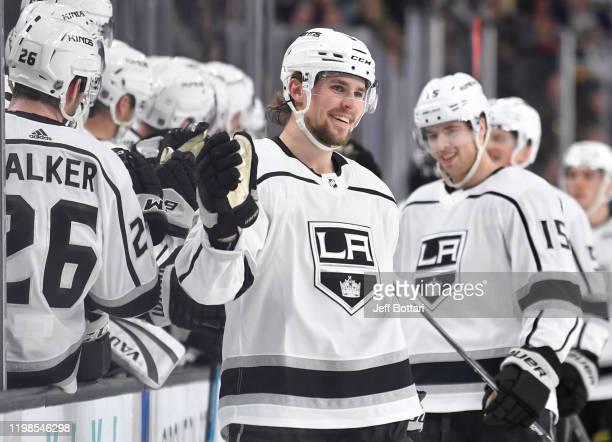 Adrian Kempe of the Los Angeles Kings celebrates after scoring a goal during the first period against the Vegas Golden Knights at T-Mobile Arena on...