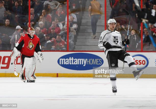 Adrian Kempe of the Los Angeles Kings celebrates his a shootout goal against Mike Condon of the Ottawa Senators at Canadian Tire Centre on October 24...