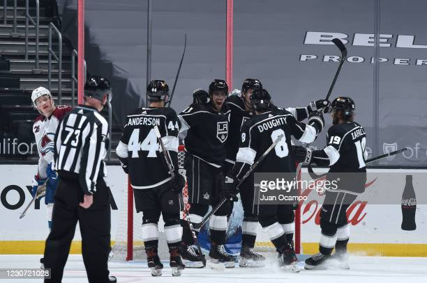 Adrian Kempe of the Los Angeles Kings celebrates his goal with teammates during the third period against the Colorado Avalanche at STAPLES Center on...