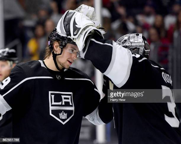 Adrian Kempe of the Los Angeles Kings celebrates his hat trick and a 51 win over the Montreal Canadiens with Jonathan Quick at Staples Center on...