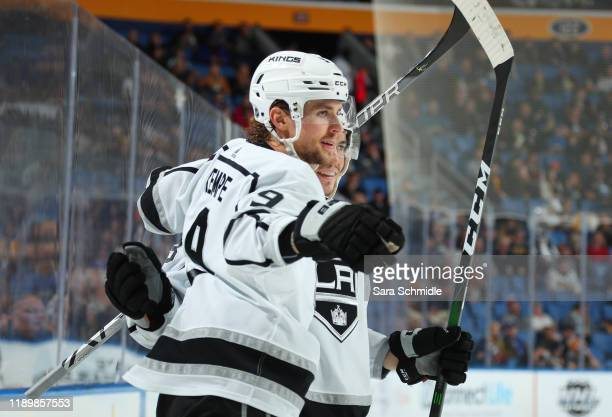 Adrian Kempe of the Los Angeles Kings celebrates his second period goal during an NHL game against the Buffalo Sabres on December 21, 2019 at KeyBank...