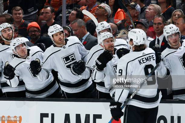 Adrian Kempe of the Los Angeles Kings celebrates his second period goal with his teammates during the game against the Anaheim Ducks on November 7...