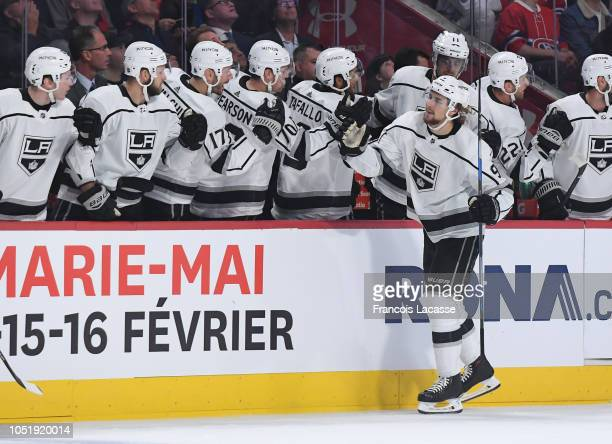 Adrian Kempe of the Los Angeles Kings celebrates with the bench after scoring a goal against the Montreal Canadiens in the NHL game at the Bell...