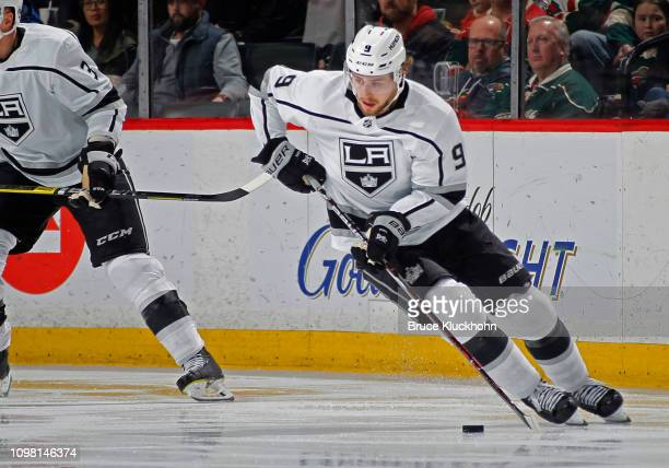 Adrian Kempe of the Los Angeles Kings controls the puck during a game with the Minnesota Wild at Xcel Energy Center on January 15 2018 in St Paul...